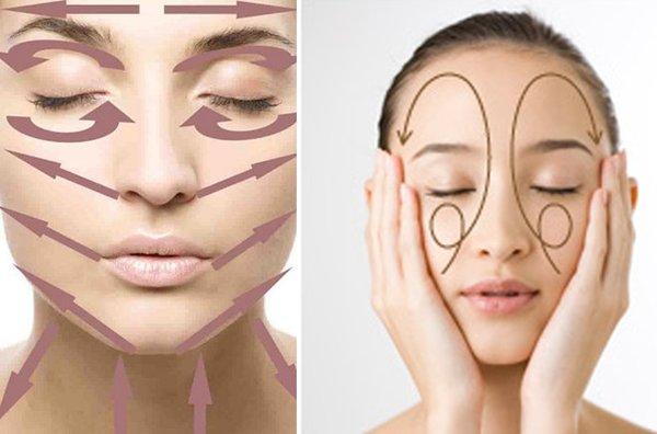 Hướng massage cho các vùng trên mặt